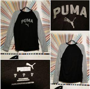 Puma Unisex Mens Small Black/Grey Longsleeve Shirt